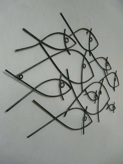 Well Known Abstract Metal Fish Wall Art Pertaining To Abstract School Of Fish Metal Wall Art Decor (View 2 of 15)