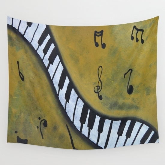 Well Known Abstract Musical Notes Piano Jazz Wall Artwork With Stylish Selection Of Music Themed Wall Tapestrys – Gifts For (View 13 of 15)