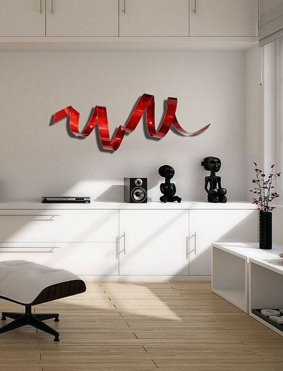 Well Known Abstract Outdoor Metal Wall Art Pertaining To Red Twist Wall Sculpture, Indoor Outdoor Metal Wall Art, Red (View 3 of 15)