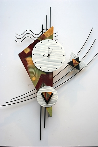 Well Known Abstract Wall Art With Clock With Regard To Abstract Wall Art With Clock This Contemporary Metal Wall Clock (View 4 of 15)