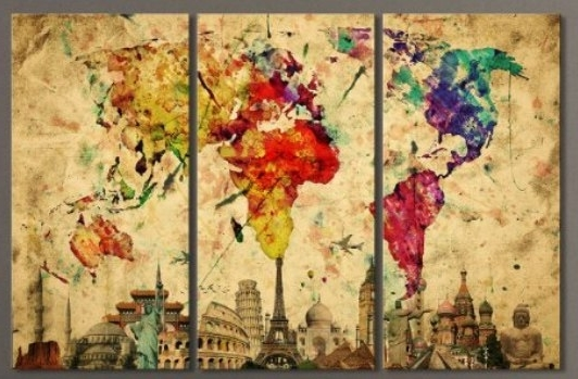 Well Known Abstract World Map Wall Art Within 3Pcs/set Modern Abstract World Map Wall Art Painting World Map (View 12 of 15)