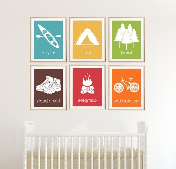 Well Known Adventure Nursery Wall Decor Kids Camping Decor Kayak (View 14 of 15)
