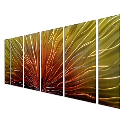 Well Known Amazon: Pure Art Stunning Abstract Aluminum Metal Wall Art, Set Pertaining To Red And Yellow Wall Art (View 13 of 15)