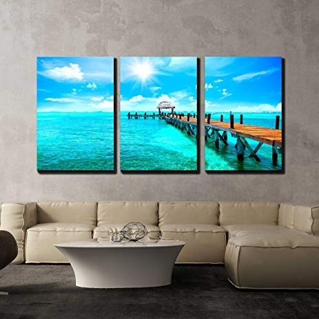 Well-known Amazon: Wall26 - 3 Piece Canvas Wall Art - Exotic Caribbean intended for Exotic Wall Art