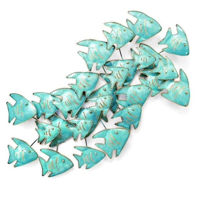 Well Known Angel Fish Shoal Pertaining To Fish Shoal Metal Wall Art (View 5 of 15)