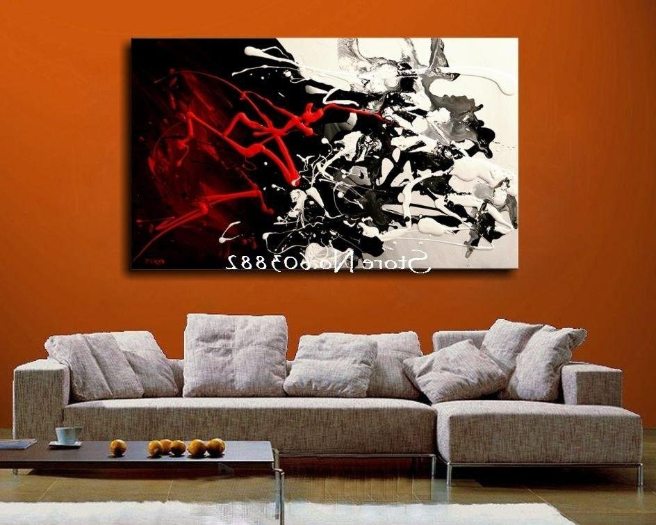 Well Known Awesome Hand Painted Discount Large Black White And Red Abstract Art Pertaining To Large Inexpensive Wall Art (View 12 of 15)