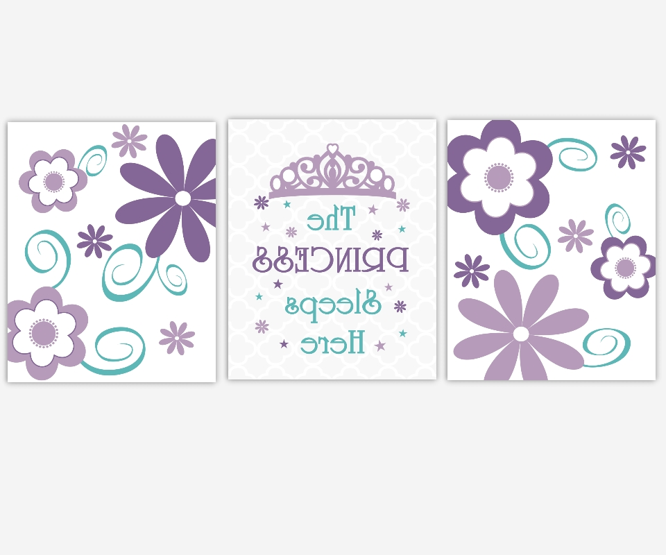 Well Known Baby Girls Canvas Nursery Wall Art Purple Lavender Teal Aqua Within Princess Canvas Wall Art (View 13 of 15)