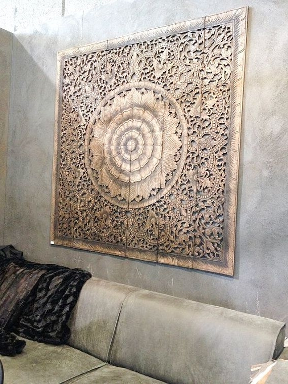 Well known Balinese Wall Decor, Carved Wood Wall Art Panel, Wall Hanging, Teak with regard to Balinese Wall Art