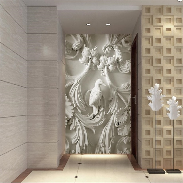 Well Known Beibehang 3D Wallpaper Classic Wall Art European Embossed Flowers For 3D Modern Wall Art (View 3 of 15)