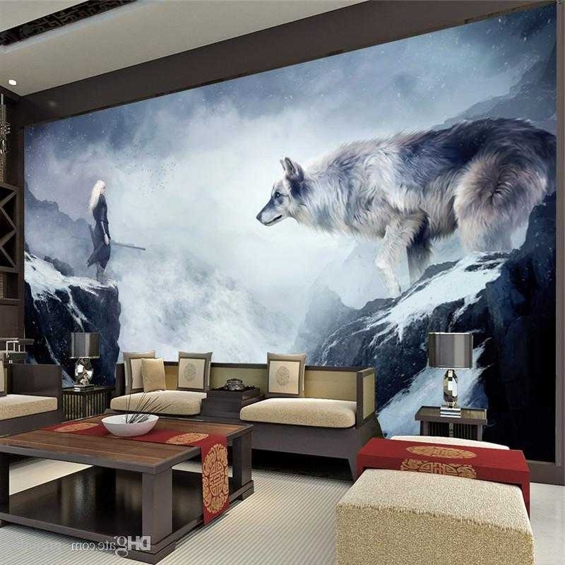 Well Known Best Fantasy Ice World Wolf Wallpaper Animal Wallpaper Custom 3D Of Within Wolf 3D Wall Art (View 7 of 15)