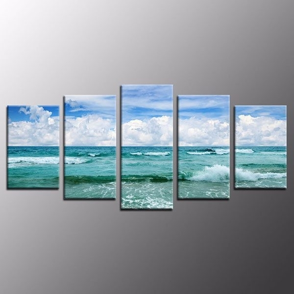 Well Known Best Quality Framed Wall Art Home Decor Green Sea Waves Gallery Intended For Blue And Green Wall Art (View 10 of 15)