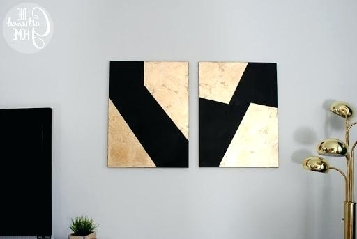 Well Known Black And Gold Abstract Wall Art Pertaining To Black Gold Leaf Canvas Wall Art Abstract Painting – Teletexto (View 8 of 15)