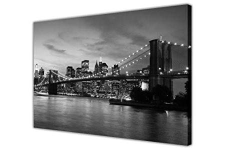Well Known Black And White Canvas Wall Art Prints New York City Bridge Pictures Throughout New York Skyline Canvas Black And White Wall Art (View 14 of 15)