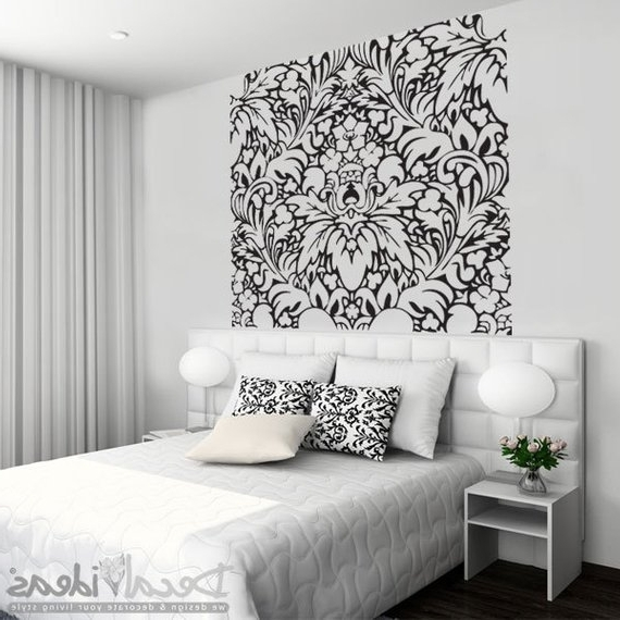 Well Known Black And White Damask Wall Art Inside Damask Decals Wall Art – Elitflat (View 8 of 15)