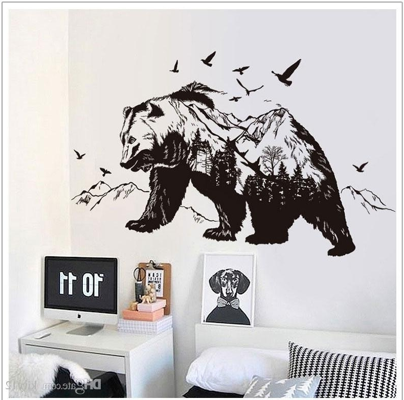 Well Known Black Bear Wall Stickers For Children Animals Wall Art Stickers Home Throughout Animal Wall Art (View 3 of 15)