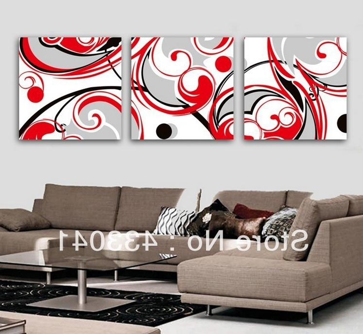 Well Known Black White And Red Wall Art Regarding Hand Painted Black White Red Wall Art Decor For Living Room Modern (View 3 of 15)