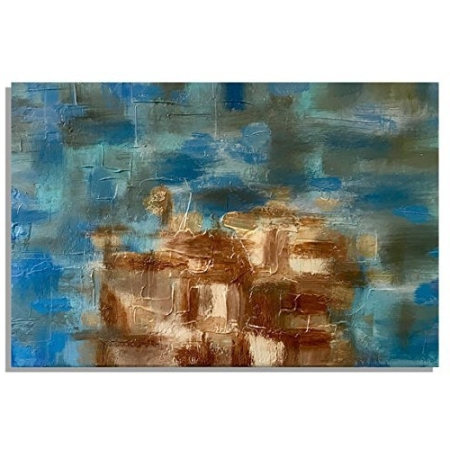 Well Known Blue And Brown Abstract Wall Art Pertaining To Amazon: Coastal Abstract Wall Art, Blue & Brown Abstract (View 8 of 15)