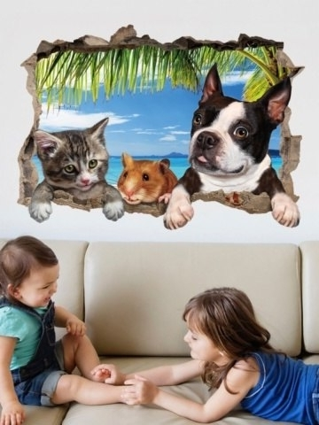Well Known Buy Wall Decorative Decal Cartoon 3D Animals Broken Wall Pattern Within Animals 3D Wall Art (View 14 of 15)