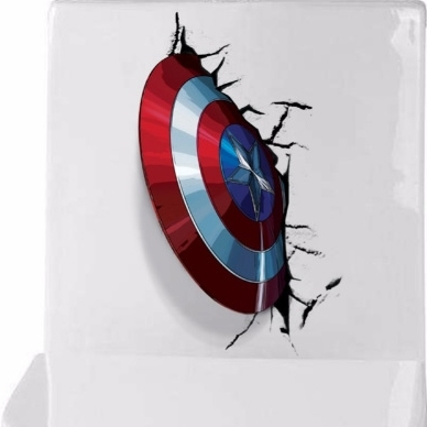 Well Known Captain America 3D Wall Art Pertaining To 3D Vivid Captain America's Shield Through Wall Stickers Kids Rooms (View 15 of 15)