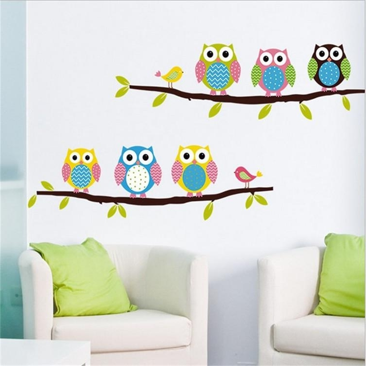 Well Known Cartoon Owl Wall Stickers Removable For Kids Nusery Rooms Decorative With Owl Wall Art Stickers (View 3 of 15)
