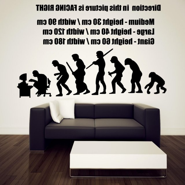 Well Known Computer Wall Art In Funny Human Evolution Ending At The Computer Desk Wall Stickers 60Cm (View 15 of 15)