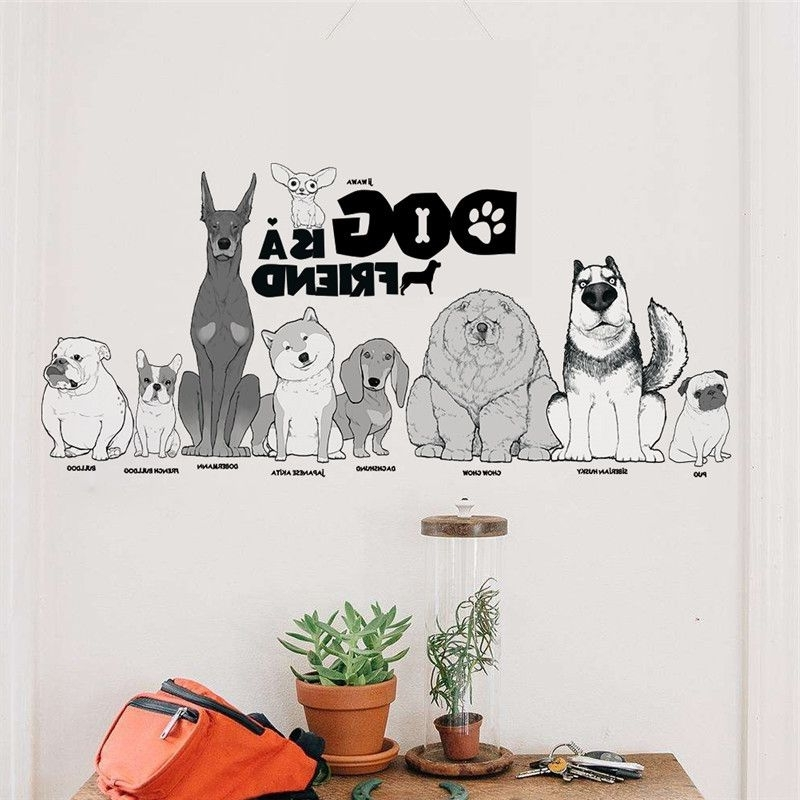 Well Known Dogs 3D Wall Art Pertaining To Animals Dog Is A Friend Wall Sticker Living Room Bedroom Pet (View 9 of 15)