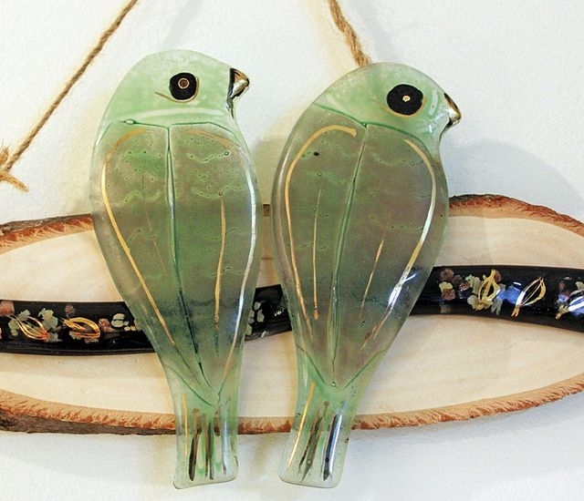 Well Known Fused Glass Hanging Wall Art – Love Green Birds On A Branch (View 9 of 15)