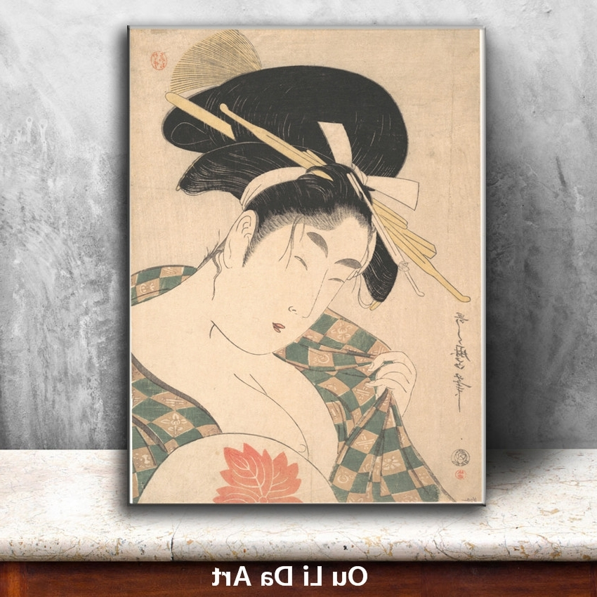 Well Known Geisha Canvas Wall Art Pertaining To Classical Japan Kimono Women Geisha Oil Painting Canvas Painting (View 5 of 15)