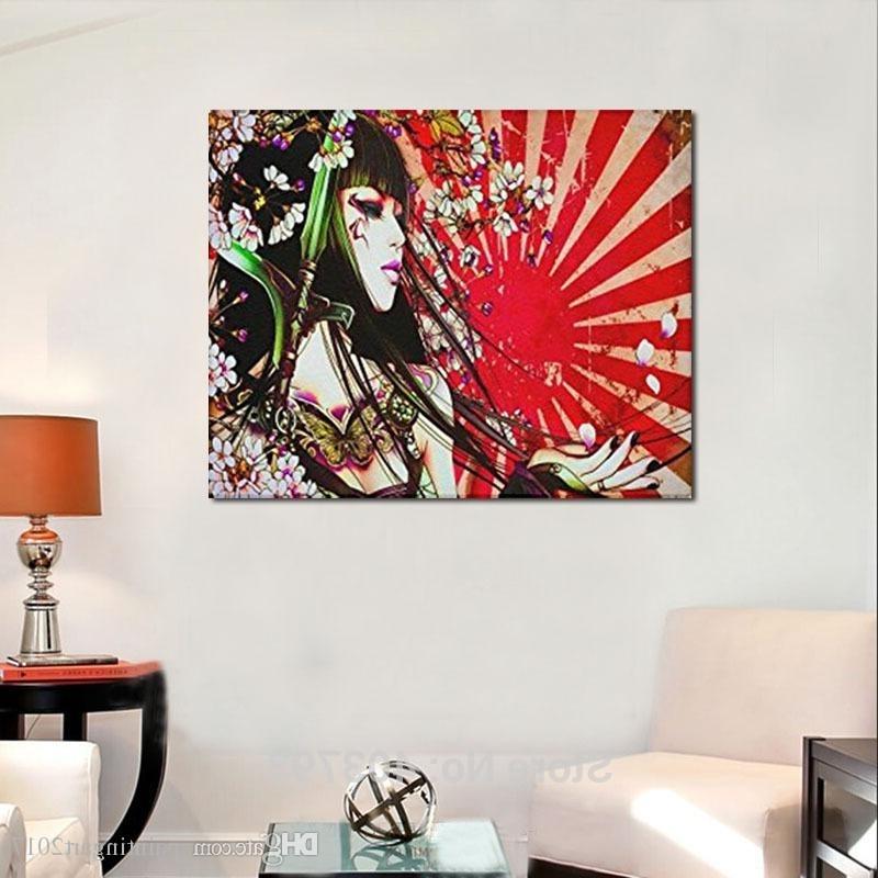 Well Known Geisha Canvas Wall Art Within 2018 Japanese Geisha Girl Custom Canvas Print Wall Art Painting (View 15 of 15)