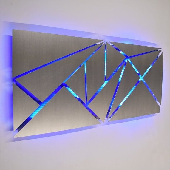 Well Known Geometric Modern Metal Abstract Wall Art For Metal Wall Art – Lighted Wall Art – Metal Wall Sculpture – Modern (View 12 of 15)