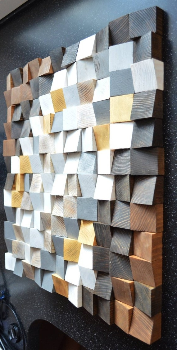 Well Known Geometric Wood Art Wood Art 3D Wall Art Abstract Painting (View 12 of 15)