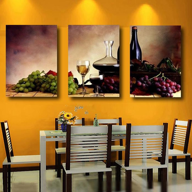 Well Known Grape Wall Art With Regard To Unframed 3 Panel Retro Abstract Wine Grape Fruit Vintage Home Wall (View 15 of 15)
