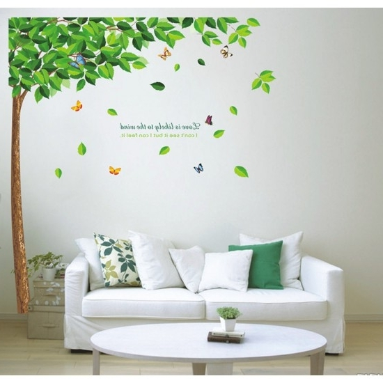 Well Known Green Tree Colorful Butterfly Vinyl Wall Art Stickers (View 15 of 15)
