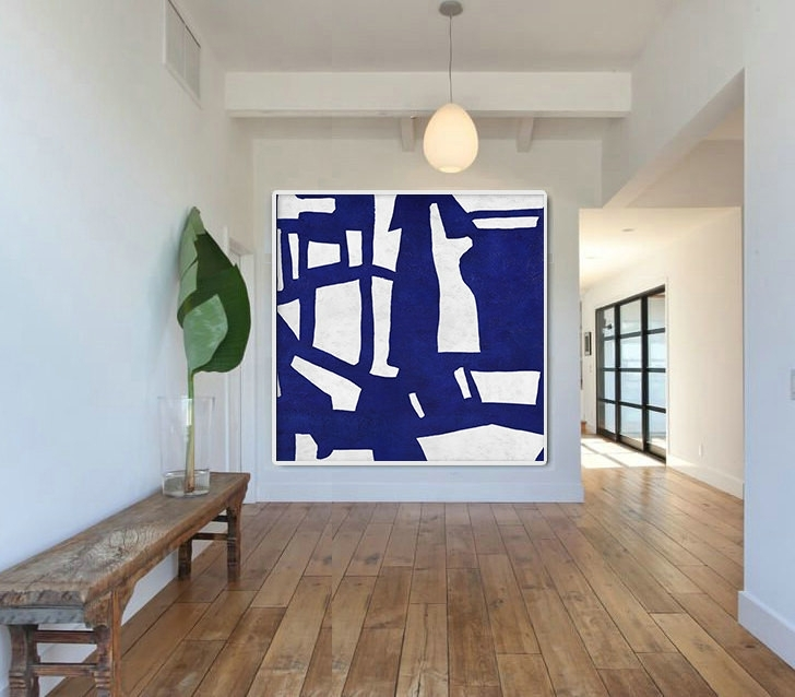 Well Known Hand Made Blue White Painting, Minimalist Abstract Art Canvas Art Intended For Blue And White Wall Art (View 13 of 15)