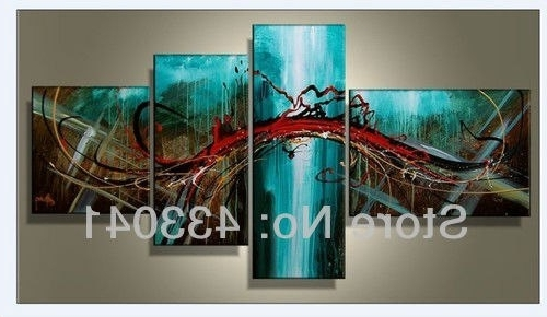 Well Known Hand Painted 4 Piece Sets Modern Abstract Large Wall Art Blue Green Within Red And Turquoise Wall Art (View 5 of 15)