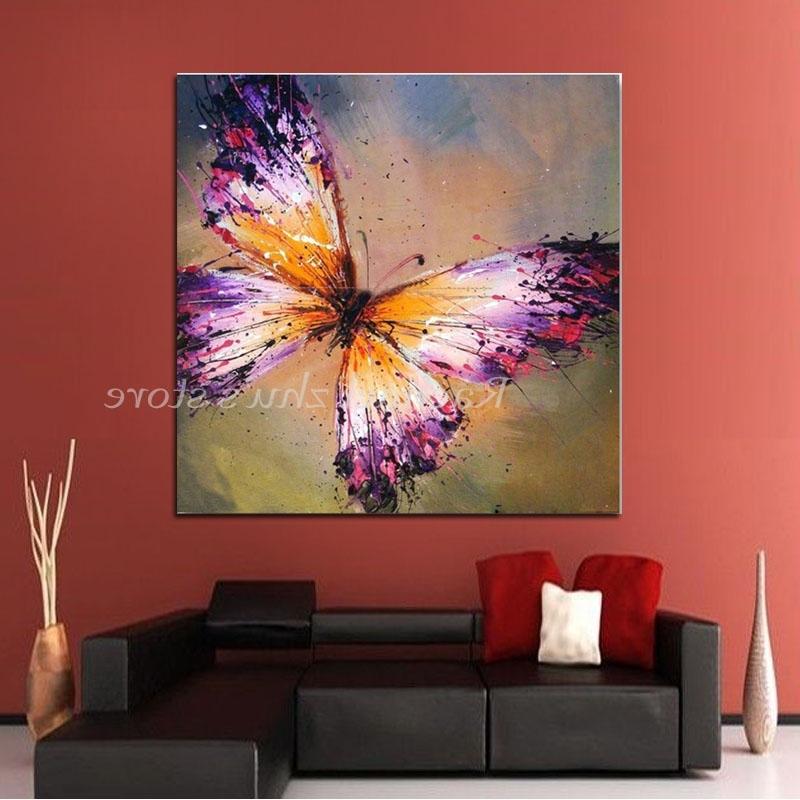 Well Known Hand Painted Abstract Purple Butterfly Oil Painting On Canvas Pertaining To Abstract Butterfly Wall Art (View 4 of 15)