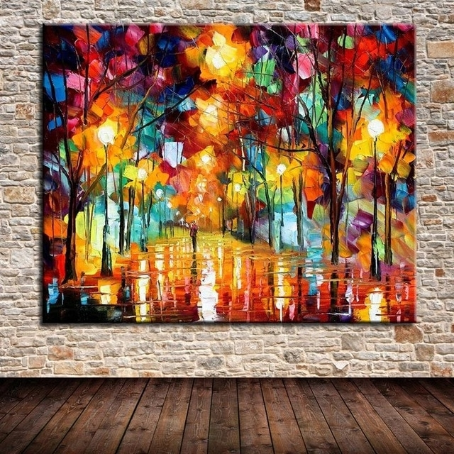 Well Known Hand Painted The Bright Light Paintings Palette Knife Landscape Oil Regarding Bright Abstract Wall Art (View 3 of 15)