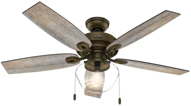 Well Known Hunter Indoor Outdoor Ceiling Fans With Lights Within Hunter Ceiling Fan Led Light Indoor Outdoor Home Noble Bronze Crown (View 15 of 15)
