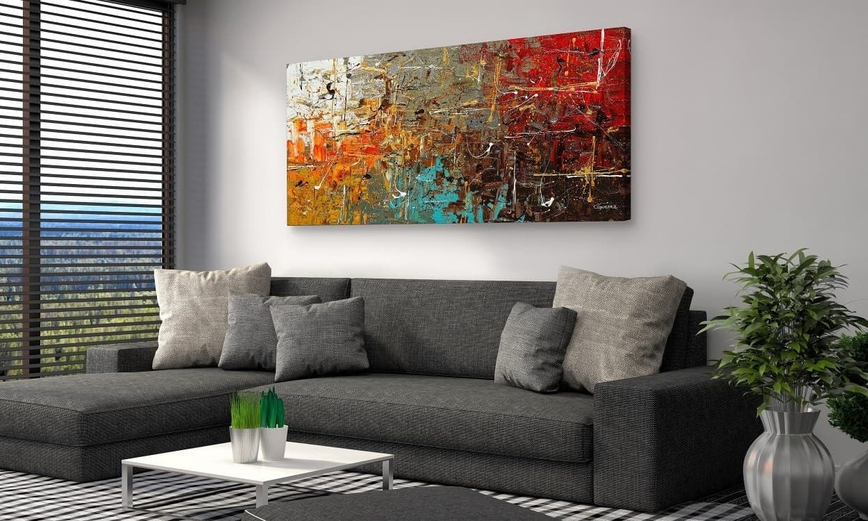 Well Known Large Abstract Wall Art And Sofa Bed For Modern Living Room Design In Big Abstract Wall Art (View 14 of 15)