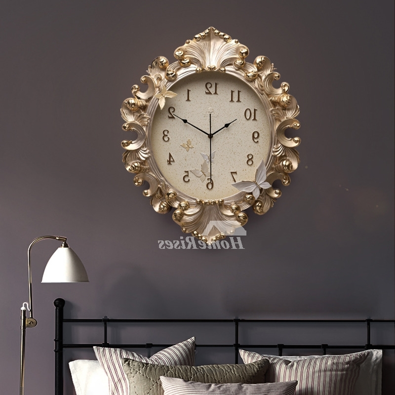 Well Known Large Art Deco Wall Clocks For Gold Wall Clock Luxury Resin 18 Inch Large Art Deco Analog Quiet Kitchen (View 11 of 15)