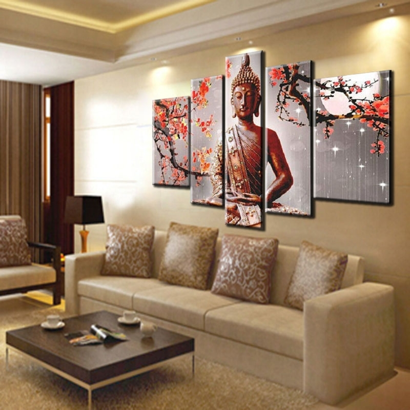 Well Known Large Buddha Wall Art In Handmade Large Modern Abstract Buddha Painting Red Plum Flower Wall (View 15 of 15)