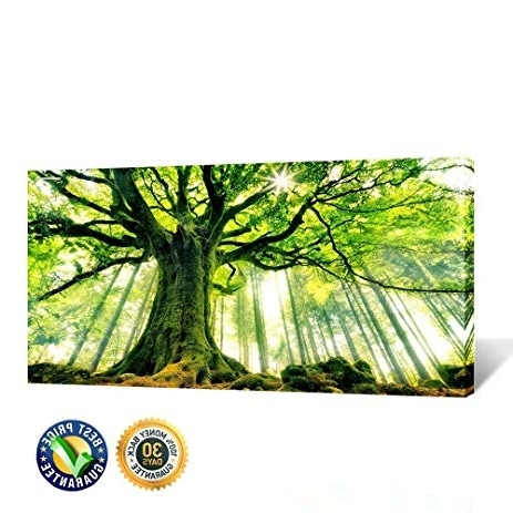 Well Known Large Green Wall Art Intended For Amazon: Creative Art  Canvas Large Art Print Spring Forest (View 13 of 15)