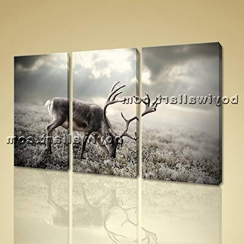 Well Known Large Triptych Wall Art Intended For Amazon: Large Deer Field Animal Contemporary Print On Canvas (View 14 of 15)