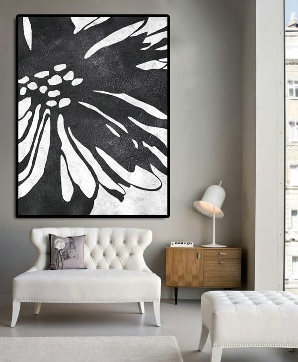 Well Known Large White Wall Art Inside Huge Abstract Painting On Canvas, Vertical Canvas Painting, Extra (View 12 of 15)