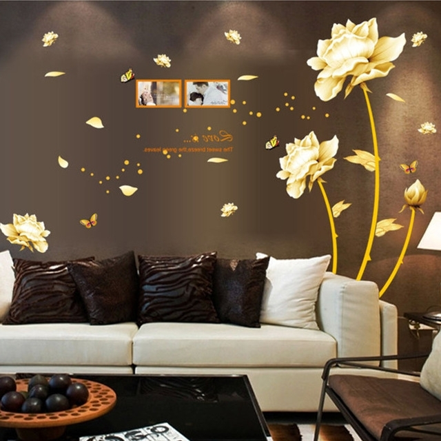 Well Known Latest Luxury Gold Flowers Tv Background Exclusive Wall Stickers Within Exclusive Wall Art (View 15 of 15)