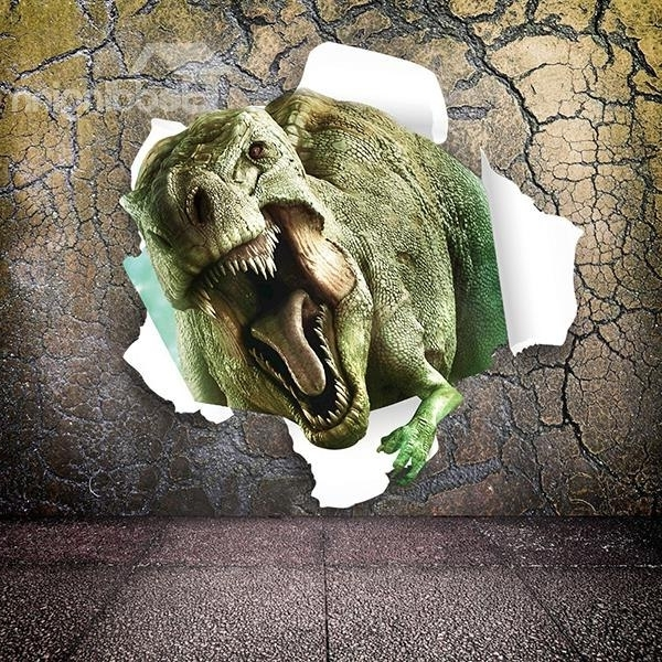 Well Known Marvelous Dinosaur Breaking Through Walls Removable 3D Wall Sticker Inside Dinosaurs 3D Wall Art (View 5 of 15)