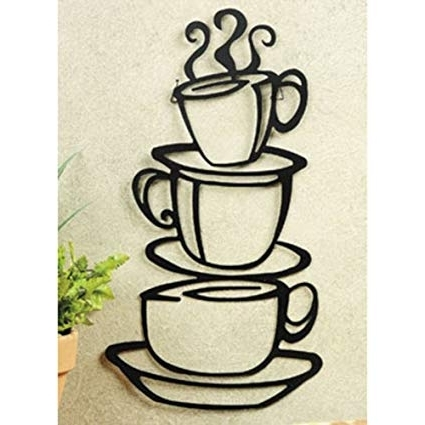 Well Known Metal Coffee Cup Wall Art Throughout Amazon: Super Z Outlet Black Coffee Cup Silhouette Metal Wall (View 10 of 15)