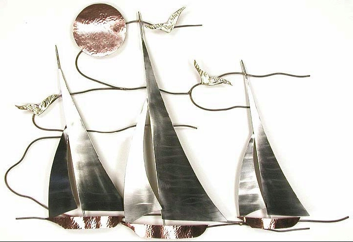 Well Known Metal Sailboat Wall Art Within Bns07 Sailboat Regata Sailboat Wall Hanging Metal Art, Nature Metal (View 8 of 15)