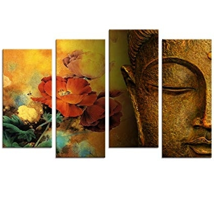 Well Known Multi Panel Canvas Wall Art Within Amazon: Buddha Canvas Wall Art, Framed And Stretched, Large Size (View 5 of 15)