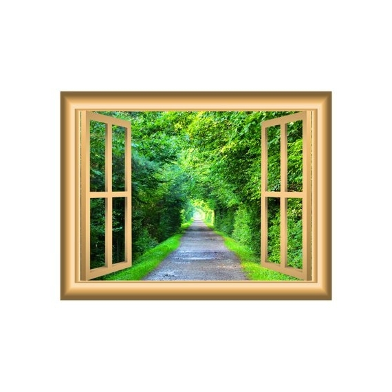 Well Known Nature Scene Trees 3D Wall Art Green Tunnel Decal Window Frame (View 9 of 15)